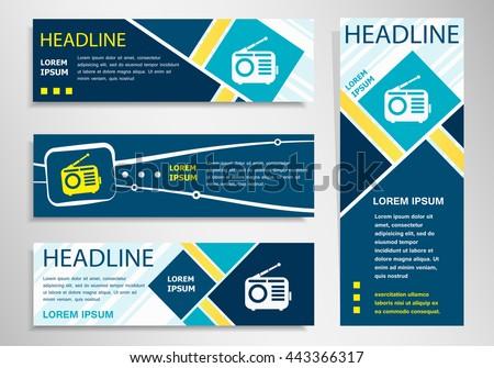 Retro radio icon on horizontal and vertical banner. Retro radio symbol abstract banner, flyer design template. - stock vector