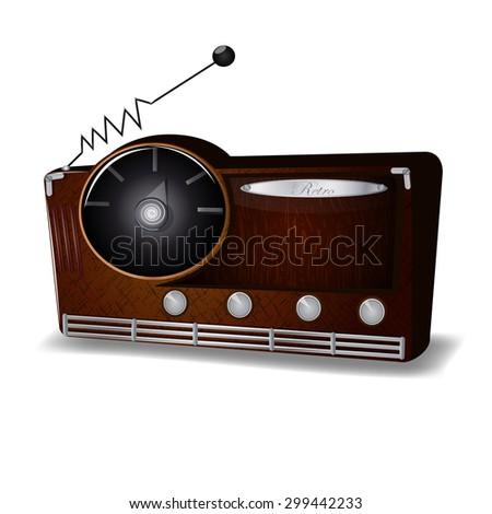 Retro radio, vector illustration - stock vector