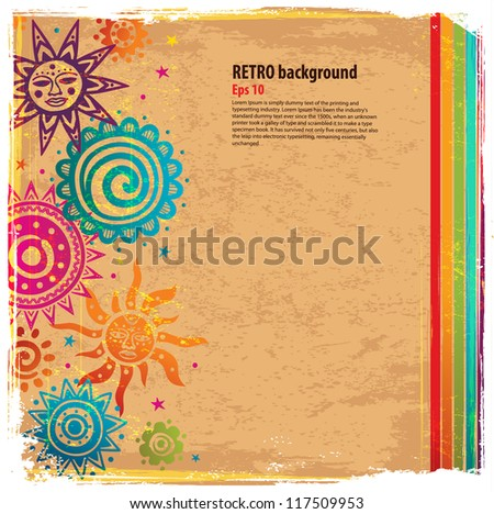 Retro rainbow ornament background - stock vector