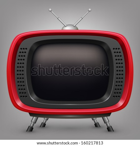 Retro red tv - stock vector