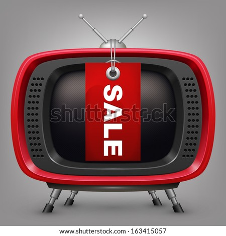 Retro red tv with labal sale - stock vector