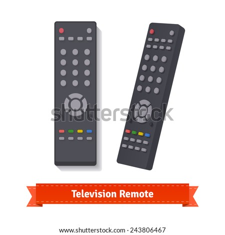 Retro remote control at different angles. Flat style illustration.  - stock vector