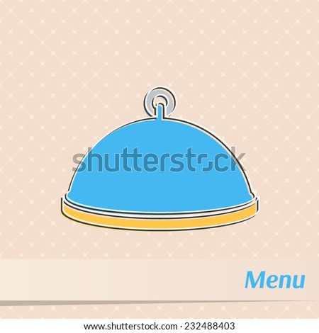 Retro restaurant menu design with serving tray - stock vector