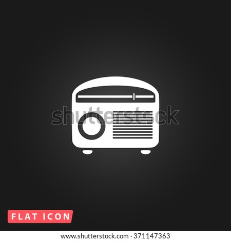 Retro revival radios tuner. White flat simple vector icon on black background. Icon JPEG JPG. Icon Picture Image. Icon Graphic Art. Icon EPS AI. Icon Drawing Object. Icon Path UI - stock vector