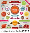 Retro ribbons vintage labels banners and emblems - stock vector