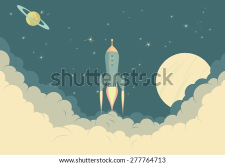 Retro Rocket Spaceship - Illustration of Spaceship taking off - stock vector
