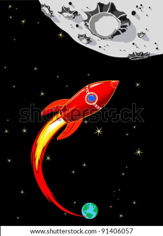 Retro Rocket Spaceship to the Moon - Red - stock vector