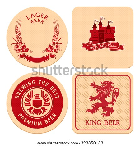 Retro round and square beer coaster designs - stock vector