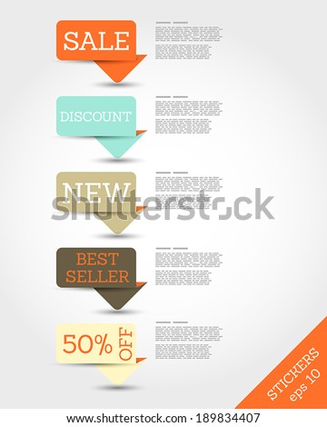 retro rounded paper origami long stickers. sale concept. - stock vector