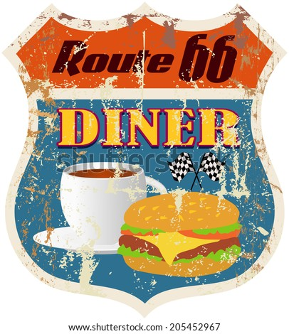 retro route 66 diner sign, vector eps 10 - stock vector