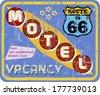retro route 66 Motel sign,vacation,  vector - stock vector