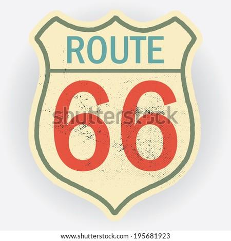 retro route sixty six icon design - stock vector