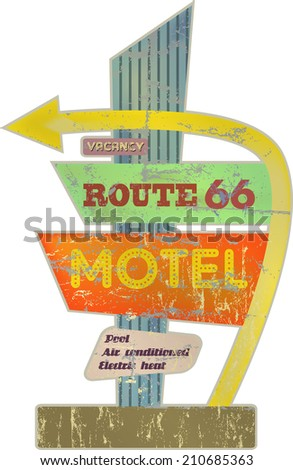 retro route sixty six Motel sign,vector illustration - stock vector