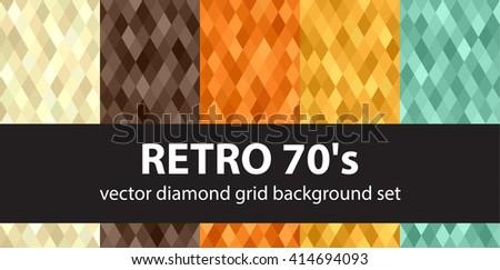Retro 70's. Diamond grid vector seamless retro background set: beige, brown, orange, yellow, green diamond pattern - stock vector