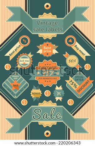 Retro sale discount promotion color cardboard labels vector illustration - stock vector