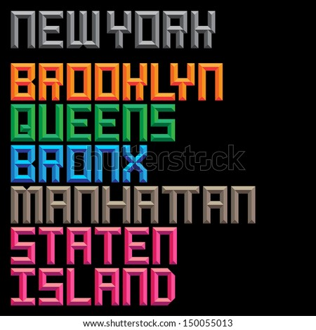 Retro Sans Serif Dimensional Typeface - Five Boroughs - stock vector
