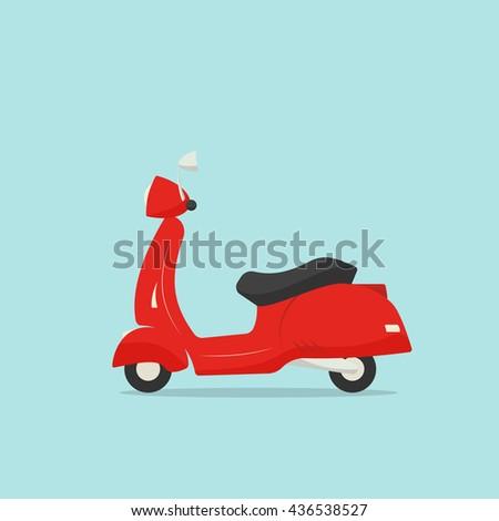 Retro scooter cartoon illustration - stock vector