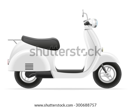 retro scooter vector illustration isolated on white background - stock vector