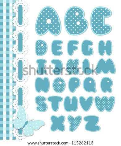 Retro scrapbook font blue color. Cartoon alphabet from a to z - stock vector