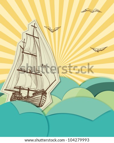 Retro sea background with sailing ship - stock vector