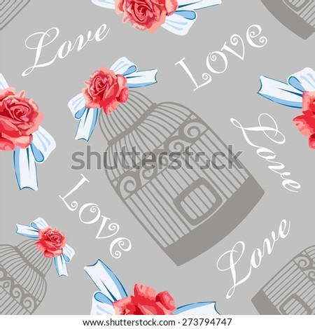 Retro seamless card design vintage roses, bird cage.Shabby Chic style, Provence be used for wallpaper,registration of weddings, decoupage, label, print on t-shirt, book cover, scrapbook  - stock vector