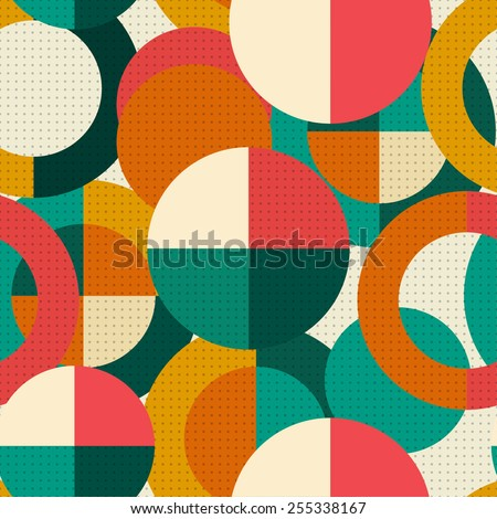 Retro seamless circle pattern - stock vector
