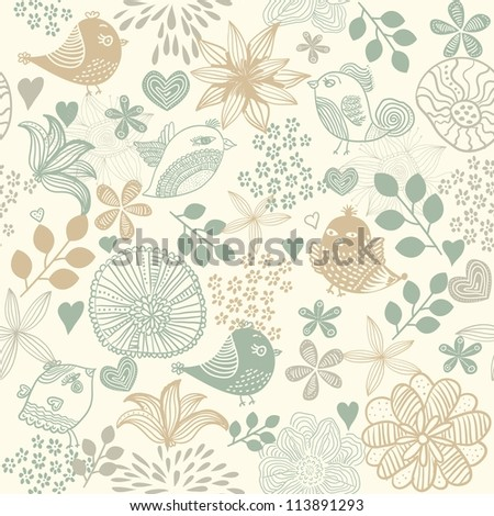 retro seamless floral pattern - stock vector