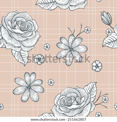 retro seamless hand drawn rose pattern over pink background - stock vector