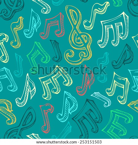 Retro seamless music pattern. Colourful hand-drawn music notes and treble clefs. Sketch illustration. - stock vector