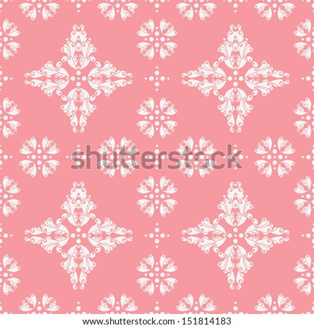 retro seamless pattern on pink backdrop - stock vector