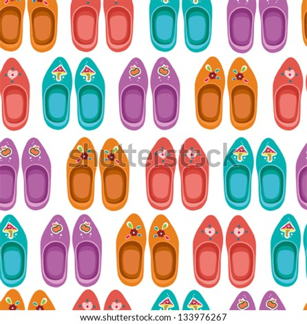 Retro  seamless pattern with clogs. Famous traditional Dutch clogs. - stock vector