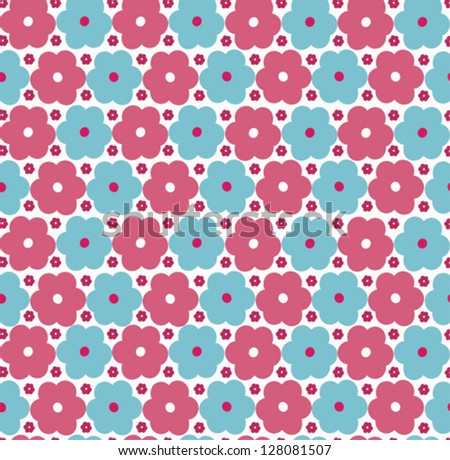 Retro seamless pattern with flowers - stock vector