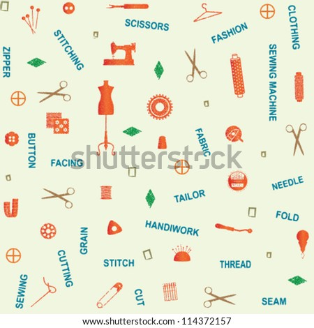 Retro seamless pattern with sewing and tailoring related symbols and words 2 - stock vector