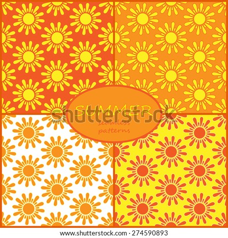 Retro Seamless pattern with sun. Vector illustration. Retro Patterns Set - stock vector