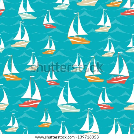 Retro seamless travel pattern of yacht. - stock vector
