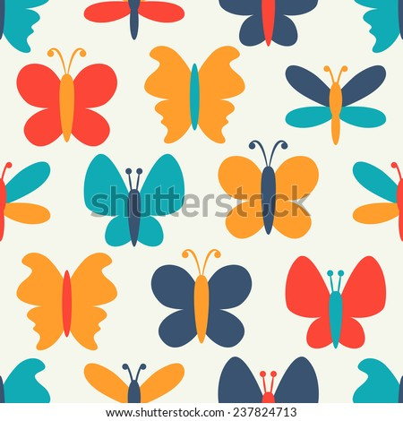 Retro seamless vector pattern of colorful butterfly silhouettes. Endless texture can be used for printing onto fabric, web page background and paper or invitation. White, blue, red and yellow colors. - stock vector