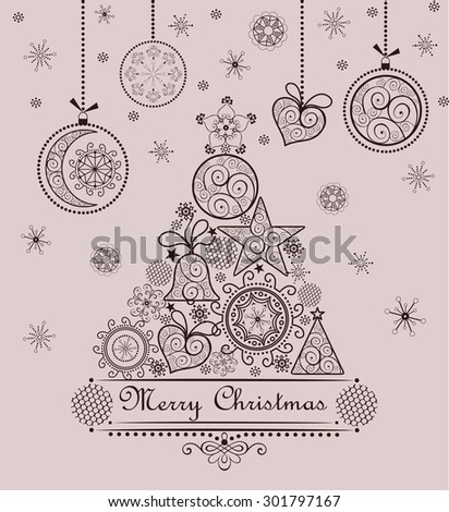 Retro seasonal greeting with lacy xmas tree and hanging baubles - stock vector