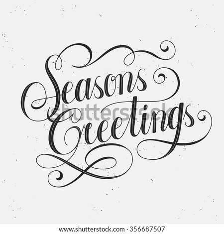 retro seasons greetings calligraphy with decorative line   - stock vector