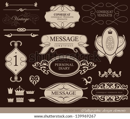 Retro set/ calligraphic design elements, page decoration and labels / vector set - stock vector