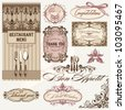 retro set, frames and decoration, vintage cutlery, great for menu cards and all kind of invitations - stock vector