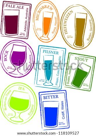 Retro Set of Fun Passport Style Beer Stamps Vector Illustration - stock vector