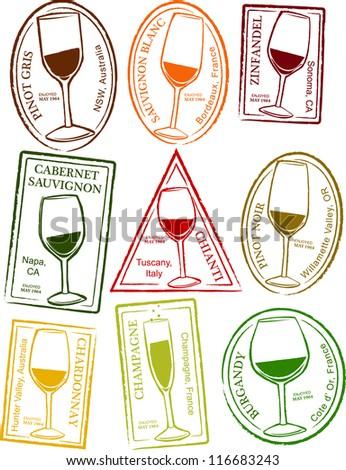 Retro Set of Fun Passport Style Wine Stamps Vector Illustration - stock vector
