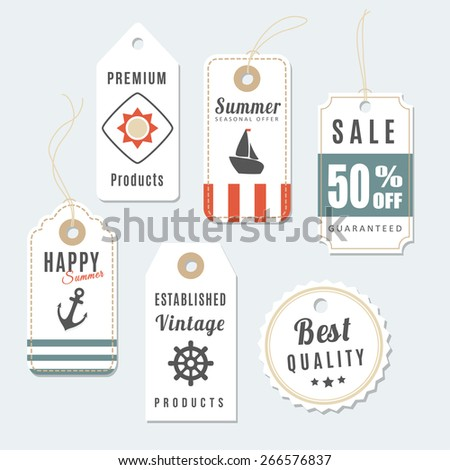 Retro set of summer vintage sale and quality labels, cardboard tags, vector illustration - stock vector