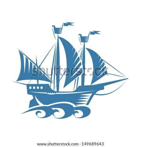 Retro ship - stock vector