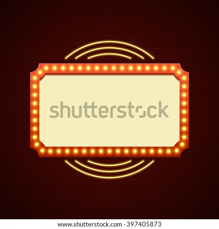 Retro Showtime Sign Design. Cinema Signage Light Bulbs Frame and Neon Lamps on brick wall background. American advertisement style vector illustration. 1950s Sign Design, Retro Signage, Sale. - stock vector