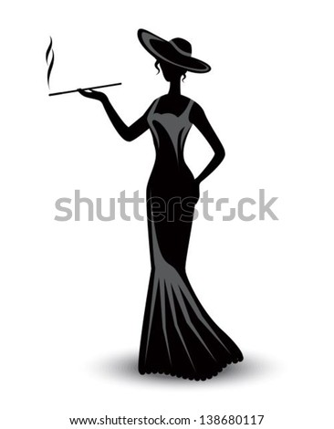 retro silhouette elegant smoking woman in a hat and a long dress - stock vector