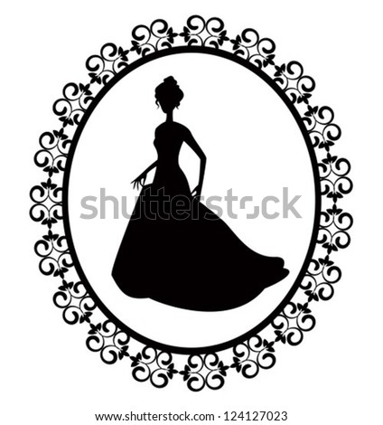 retro silhouette of a woman in a long dress with ornate frame - stock vector