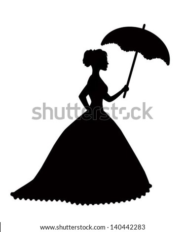 retro silhouette of a woman with an umbrella in a magnificent dress - stock vector