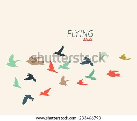 Retro silhouettes of flying birds, vector illustration - stock vector