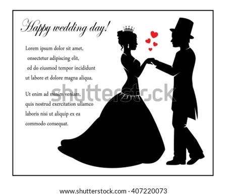 Retro Silhouettes of the bride and groom and a place for text - stock vector
